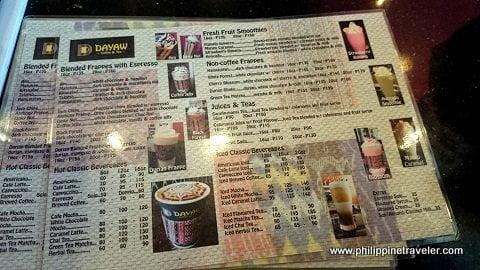 Dayaw Coffee and Tea Menu