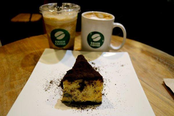 Green Coffee coffee and cake