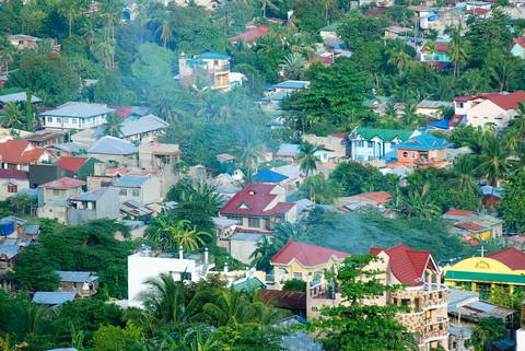 Cebu City, Philippines residential area with many tropical foliage.