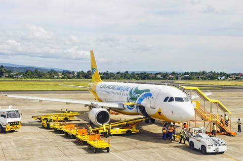 Cebu Pacific Air plan on tarmac at airport.