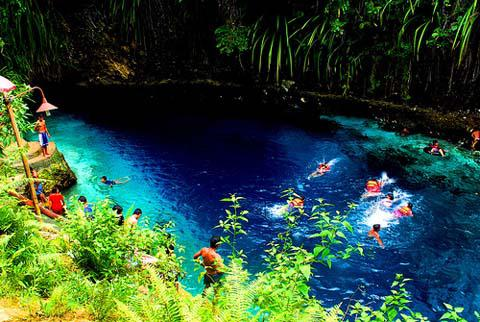 Exotic and beautiful Enchanted River in Surigao del Sur, Philippines.