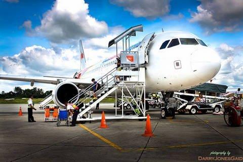 PAL flight to Iligan on tarmac of Lumbia airport in Cagayan de Oro.