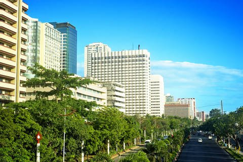 Line of hotels in Malate district of Metro Manila Philippines.