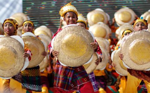 Kadayawan Festival Indak Indak dancers in traditional costumes.