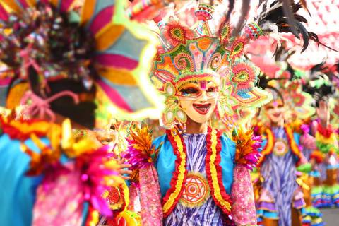 Colorful costumes and masks at the Maskara Festival in Bacolod City.