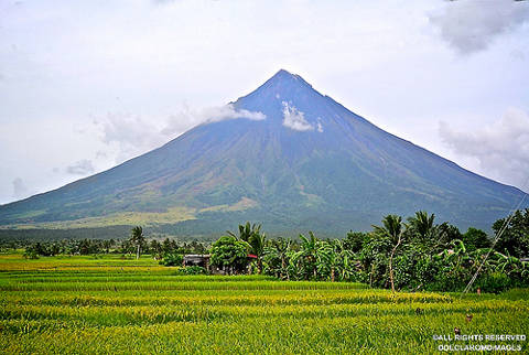 The majestic Mayon volcano with its lush vegetation.