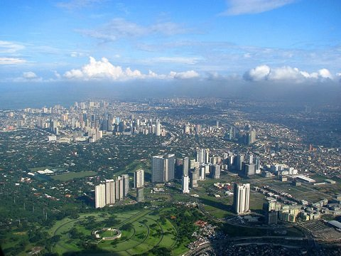 A view of Metro Manila, Philippines while approaching Ninoy Aquino International Airport