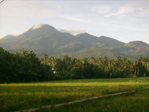 Mountains on Camiguin Island with lush vegetation.