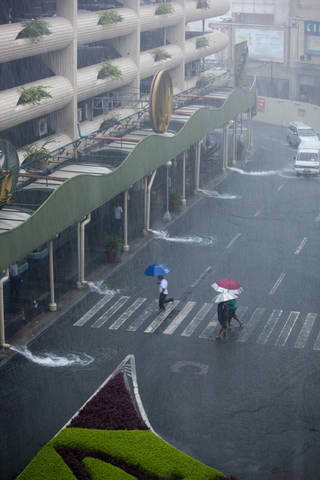Heavy rain from typhoon falls in the Philippines.
