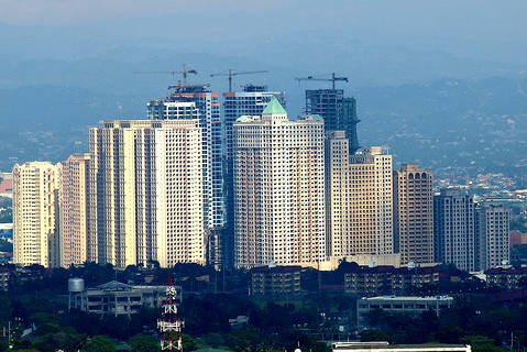 High-rise buildings in Quezon City, Metro Manila.