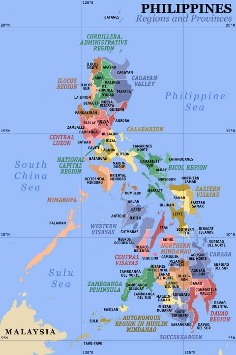 Map of the 17 regions of the Philippines including location of 80 provinces