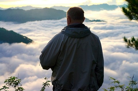 Foreign man enjoying the view in Sagada, Mountain Province.