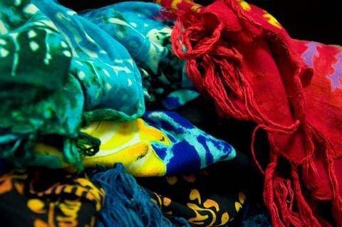 Colorful sarongs.