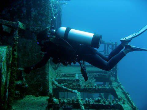 Scuba diving wreck site in Boracay Philippines