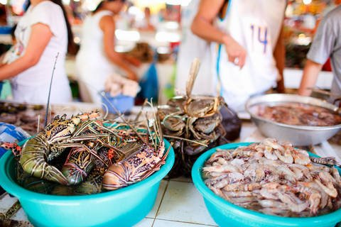 Fresh seafood market on Boracay Island.