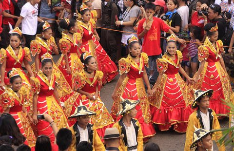Colorful Sinulog dance at the Santo Nino Festival in Cebu City.