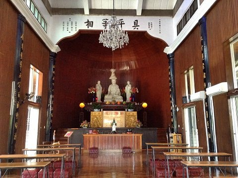 The simple main prayer hall.