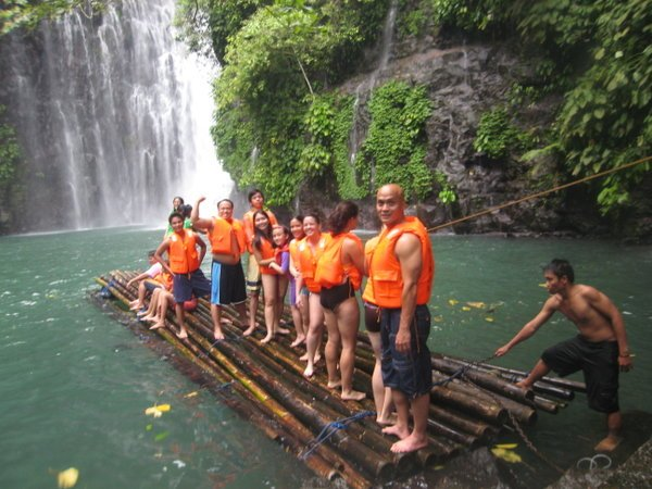 Group on a raft at Tinago Falls in Iligan City