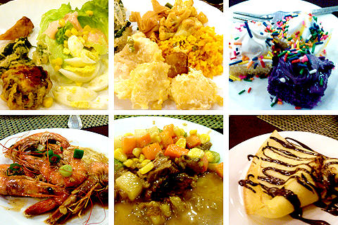 Collage of food dishes at Zabs Buffet Restaurant in Davao City